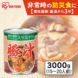 1号缶豚汁 3000g 缶詰 田舎汁 防災 備蓄 おふくろの味 豚肉 とん汁 味噌汁 みそ汁 やさい ヤサイ 野菜 非常食 保存食 アイリスフーズ