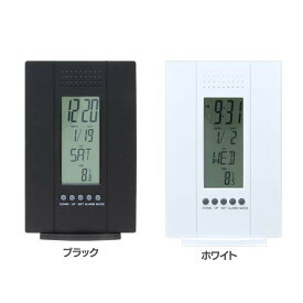 置時計 デジタル 多機能付き 99069・99070置き時計 デジタル 実用性 おしゃれ オシャレ 実用的 機能的 シンプル 四角 カレンダー付き 温度計 アラーム クロック 不二貿易 ブラック ホワイト【D】