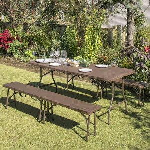 イージーキャリーダイニングテーブル・ベンチ ラタン調 3点セット 送料無料 ガーデンテーブル ガーデンチェア ガーデンテーブルセット ベンチ セット 折りたたみ アウトドア ガーデン用品