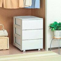 (収納用品)《組立不要》ロングチェストHG-443 ホワイト/ライトグレー アイリスオーヤマ (収納ケース/収納ボックス/引き出し/衣装ケース/押入れ収納/クローゼット収納/プラスチック収納)