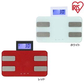 体重体組成計WBCM-6Cレッド・ホワイトアイリスオーヤマ