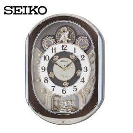 電波からくり時計 RE578B送料無料 SEIKO 掛け時計 壁掛け からくり時計 電波時計 アナログ スイープ メロディ 音量調節 セイコークロック 【TC】■2