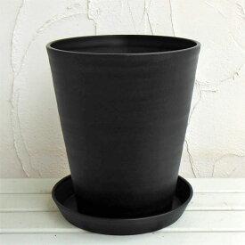 セラアート長鉢尺10号(黒)L 鉢と受け皿のセット