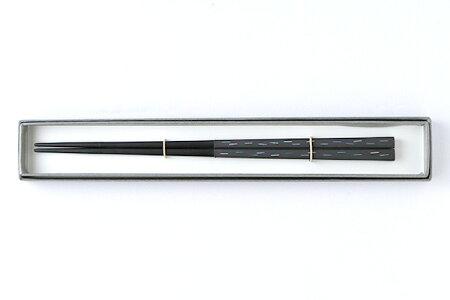田中若葉雨もよう箸(塗り)225mm木製・漆