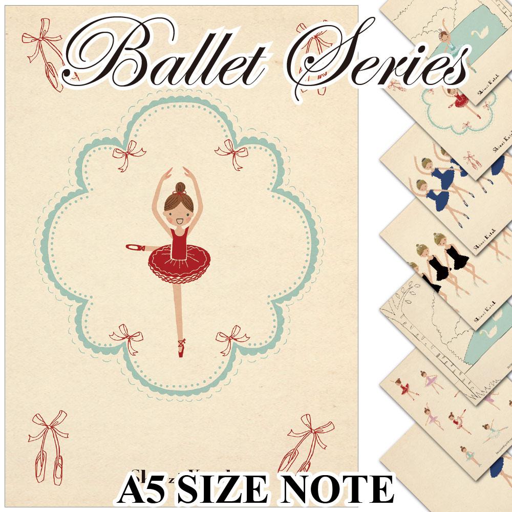 [balletnote] バレエ ノート / ballet A5 size notebook / Shinzi Katoh シンジカトウ / バレエ柄 A5サイズノートブック / バレエ 雑貨 プレゼント ギフト ks-nb-ballet
