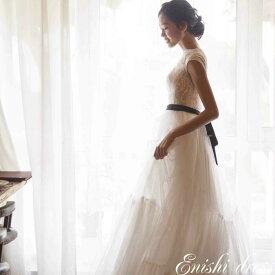 ウェディングドレス スレンダーライン ロングドレス ホワイト リボン ベルト レース フリル 結婚式 披露宴 二次会 前撮り パーティー サイズオーダー オーダーメイド かわいい レトロ