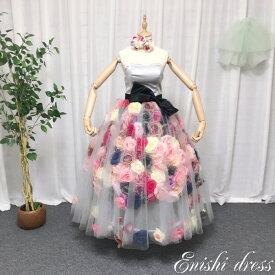 e7733f9674d2a ウェディングドレス バラ 薔薇 造花 500個 蝶々 リボン カラフル チュール 結婚式 披露宴 二次会 前