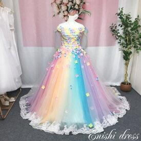 ウェディングドレス カラードレス 色変更可 レインボーカラー 花柄 装飾 肩リボン バックリボン 8色 レース 結婚式 披露宴 二次会 前撮り パーティー かわいい カラフル ゴージャス インスタ映え