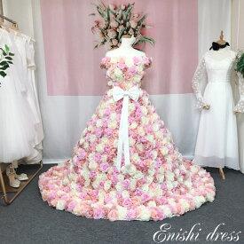 eb63d33bf3749 ウェディングドレス バラ 薔薇 花 花柄 豪華 ピンク ホワイト 色変更可 1100個 リボン