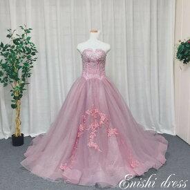 80cba3ef3647b ウェディングドレス カラードレス キラキラ ピンク ハートカット Aライン 着やせ 花柄 チュール レース