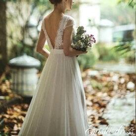 ウェディングドレス 背面V字 レーストップ シフォンスカート 結婚式 披露宴 二次会 前撮り パーティー おしゃれ インスタ映え 上品 高級感 豪華 華やか エレガント ゴージャス