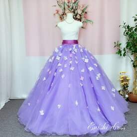 オーバースカート 花びら 造花 オーガンジー ウェディングドレスの色直し パープル 紫 アクセサリー 色変更無料 ロングトレーン ボリューム エレガント 結婚式 披露宴 二次会 前撮り パーティー 花嫁 かわいい 豪華 色変更 サイズオーダー 無料