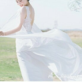 ウェディングドレス スレンダーライン Vネック ロングドレス ホワイト 花柄レース ノースリーブ カジュアル 結婚式 披露宴 二次会 前撮り パーティー サテン かわいい ゴージャス