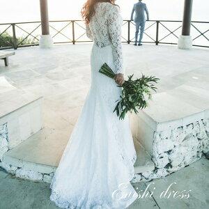ウェディングドレス マーメイドドレス 長袖 レースドレス 花柄 ロングドレス 結婚式 披露宴 二次会 前撮り パーティー くるみボタン かわいい おしゃれ 高級感 サイズオーダー ハンドメイド