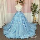 オーバースカート 花びら 造花 オーガンジー ウェディングドレスの色直し ブルー 水色 アクセサリー 色変更無料 ロ…