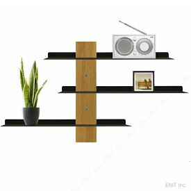 壁掛けラック スライド ショー おしゃれな ウォールシェルフ 木製 スティール製 壁面 収納 飾り棚 スリーバイスリー
