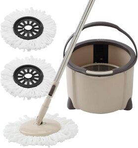 Eyliden.回転モップ バケツ付き クロス2枚 取替 フロアモップ フローリング ワイパー モップ回転 モップセット 一層式 洗浄 脱水 乾拭き 水拭き 掃除 軽量 床に優しい 長さ調節 バケツ分解可能
