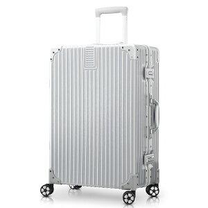 TABITORA(タビトラ) スーツケース シルバー Lサイズ キャリーケース アルミフレーム レトロ 四角 静音 TSAロック 傷が目たちにくい 軽量 大容量 丈夫 大型 トランク 旅行かばん オシャレ ビジネ