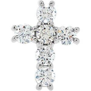 天然ダイヤモンド 14.3mm クロス ペンダントトップ 0.75ct ホワイトゴールド