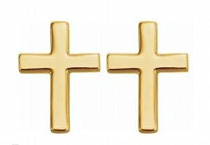 ゴールド 7.5X5.5 クロス 十字架 ピアス 14金 14K