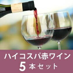 【毎月ポイント5倍が付く!】Dコース ハイコスパ赤ワイン5本セット 【初回6月25日お届け】
