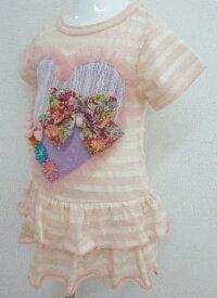 FORTY ONE フォーティワン 【SALE】ボーダーハート×リボン×ワンピース(ピンク)  80〜95cm/かわいい/女の子が大好きなアイテムがいっぱい♪