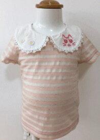 ポスト投函送料無料/FORTY ONE フォーティワンピンク 丸衿ネコ刺繍 半袖TEE 95cm
