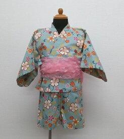 日本製【CORNEIUE】 甚平+へこ帯お花柄/セパレートタイプ/袖は浴衣風/95cm/女の子/水色