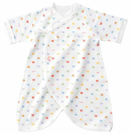 【赤ちゃんの城】 ベビーパステル コンビ肌着 総柄 ホワイトフライス素材/スムース素材/天竺素材