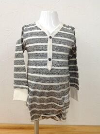 【プチシュクレ】petitsucre 日本製長袖ボディシャツ/綿100%股ボタン2段階調節/ボーダー