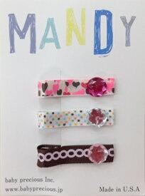 【MANDY NON SLIP CLIPS】 リボン3Pクリップ ヘアアクセサリー/ストーン付き/かわいい/ハート/ドット/リングセレモニー/結婚式/発表会/入学式