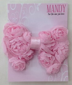 【MANDY NON SLIP CLIPS】 立体リボンクリップ ヘアアクセサリー/かわいい/ピンクセレモニー/結婚式/発表会/入学式