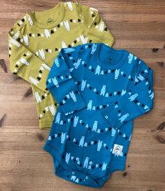 【Wonder apartment×petit sucre】長袖ボディシャツ 総柄×ベア70-80cm/80-90cm2段階調節可能/かわいい/赤ちゃん/プチギフトギフト
