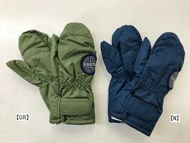 【KID BOW】 雪国仕様 手袋 スノーグローブ てぶくろエステルオックス 耐水圧2000 撥水加工手袋グリーン/ネイビー/ワッペン Sサイズ Мサイズ ミトンタイプS55851