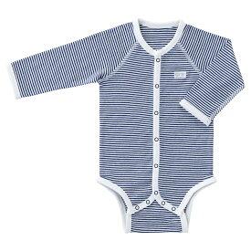 【赤ちゃんの城】 長袖ミニオールボディシャツ 70cm 全開タイプネイビーボーダー
