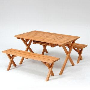 杉材 BBQテーブル&ベンチセット (コンロスペース付) ガーデンテーブル ガーデン テーブル セット ガーデニング ガーデンベンチ ガーデンチェア テーブルセット 木製 アウトドア イス 椅子