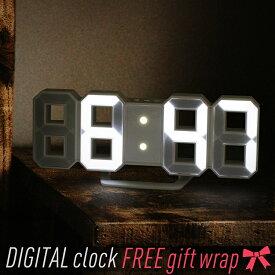 【送料無料】デジタル時計 TriClock トリクロック 暗闇に数字が浮かぶ! 寝室に最適なスタイリッシュなLEDデジタル時計 寝室用 シンプル時計 おしゃれ リビング用 北欧風 子ども部屋用 壁掛け時計 置き時計 LED時計(日本ポステック)