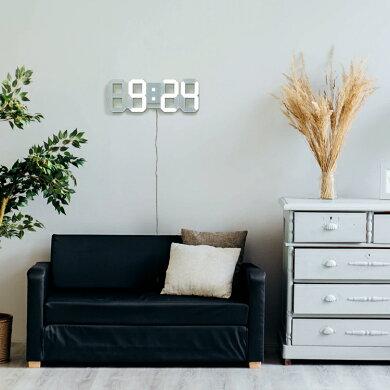 正規品デジタル時計TriClockBIGトリクロックビッグ大型寝室用シンプル時計おしゃれリビング用北欧風子ども部屋用壁掛け時計置き時計LED時計(日本ポステック)暗闇に数字が浮かぶ!寝室に最適なスタイリッシュなLEDデジタル時計