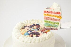 写真プレート付きレインボーケーキ5号サイズ 写真ケーキ 誕生日ケーキ バースデー ケーキ ホールケーキ ホール いちご 子供 大人 レインボー 虹 かわいい 可愛い おしゃれ お取り寄せスイー