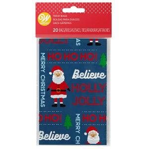 Wilton HO-HO-HOミニトリートバッグ20CT | ウィルトン ラッピング クリスマス 袋 プレゼント XMS SC HO MINI TREAT BAGS 20CT