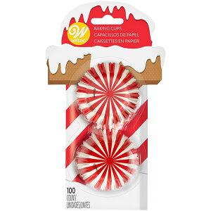 ベーキングカップ ノースポールミニカップ 100枚 Wilton ウィルトン ウィルトン クリスマス マフィン カップケーキ サンタ 紙カップ グラシン Muffin Cupcake Liner Holiday