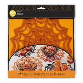紙コースター スパイダーウェブフォイルドイリー Wilton ウィルトン ペーパー 紙 シート コースター 敷紙 ドイリー ケーキ 菓子 デコレーション ラッピング Sheet Coaster Paper Muffin Halloween HW