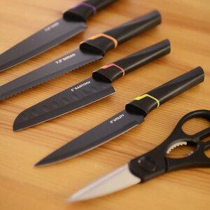 包丁 ナイフ ノンスティック コーティング ブラックナイフ 4個セット&シザーセット はさみ セット おしゃれ 切れ味抜群 アウトドア ギフト 【2.24N】 JSO Home(ジェーエスオーホーム) おうち