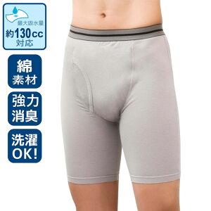 [3枚組] 紳士 大容量&強力消臭 安心ボクサーパンツ同色3枚組(グレーまたはブラック) 130cc対応 男性用 メンズ 失禁パンツ 下着 過活動膀胱 重失禁 介護