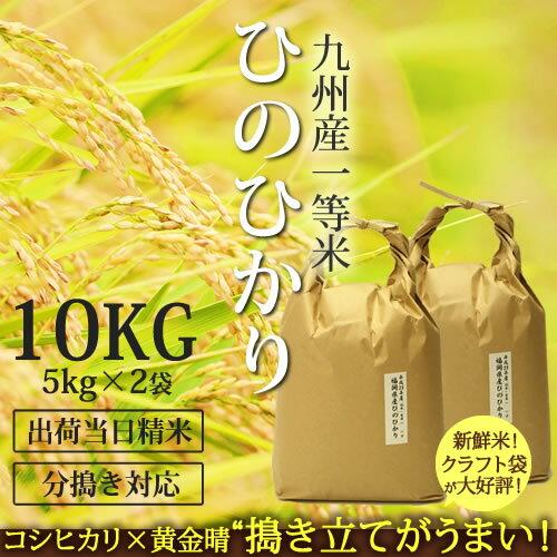 29年産 【一等米】 九州産ひのひかり 10kg[5kg×2]【送料無料】出荷日精米!玄米 から 分つき米 白米まで 九州産ヒノヒカリ 九州のお米-sss