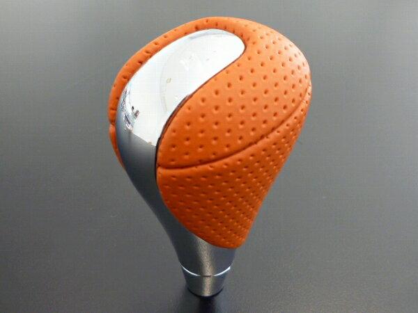 レクサス IS-F 純正 シフトノブ ヴィッツ アクア用 オレンジ 本革 ギアノブ メッキ/本革 トランスミッション革