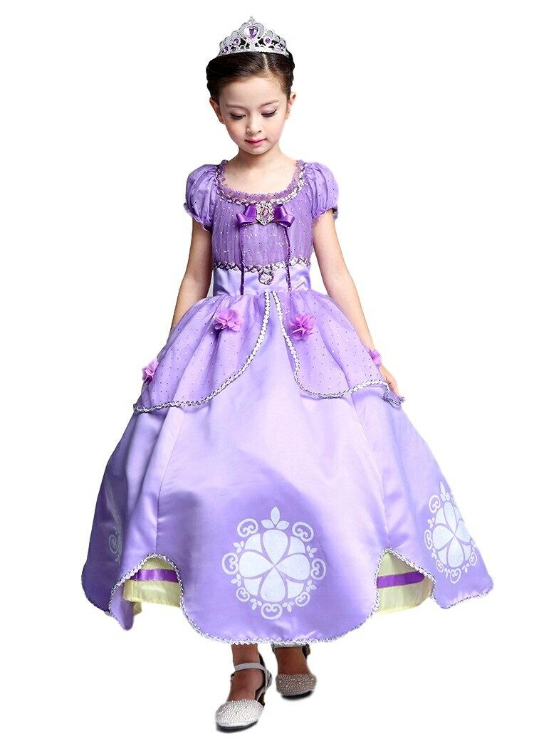 プリンセス ロングドレス しっかり4層構造 ふんわり 立体フラワー 子供 キッズ用 ドレス ティアラ 2点セット