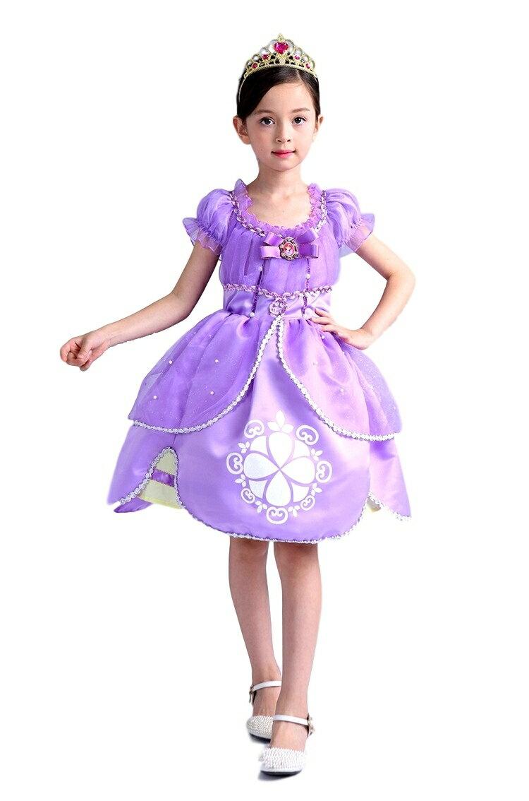 プリンセス ミニドレス しっかり4層構造 ふんわり 子供 キッズ用 ドレス ティアラ セット