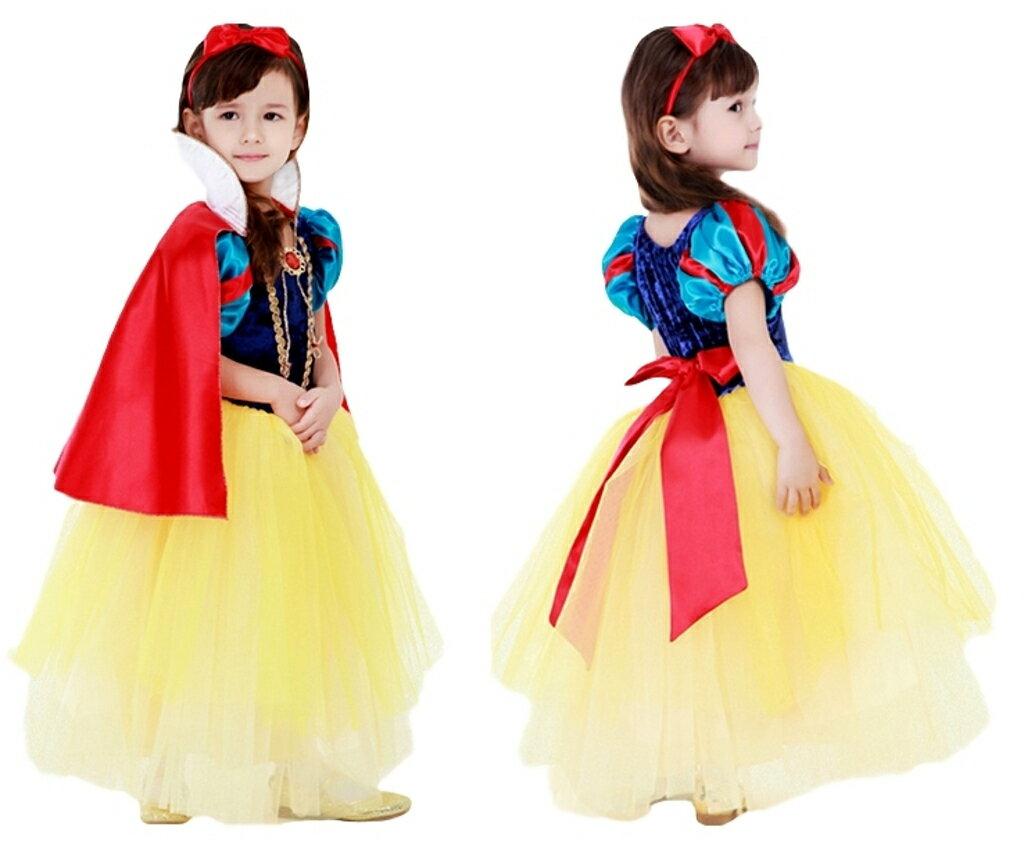 プリンセスドレス コスプレ 子供 女の子 衣装 白雪姫ドレス ロング 5層構造 コスチューム 仮装 お姫様 なりきり