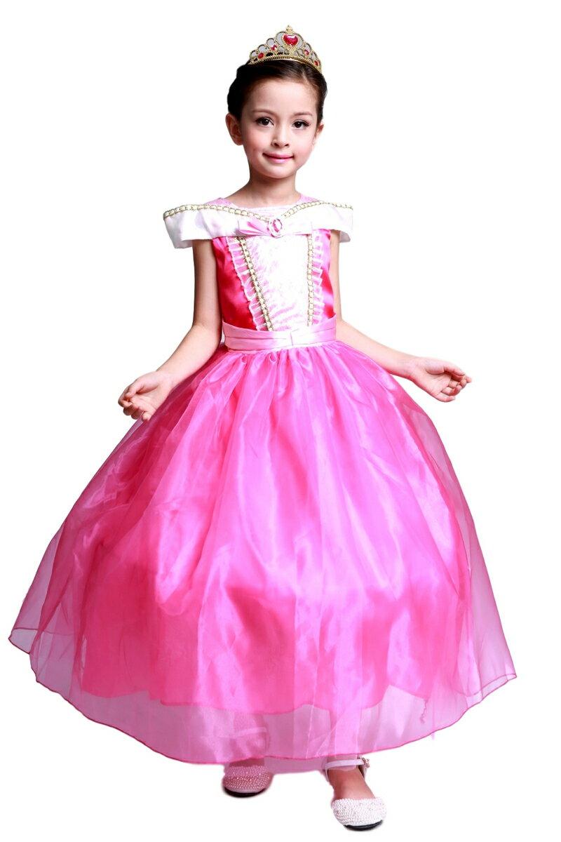 オーロラ姫 モチーフ ロングドレス プリンセス スカート3層構造 ふんわり 子供用 ドレス ティアラ セット